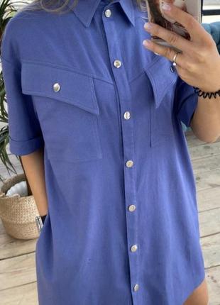 Синее платье рубашка из льна