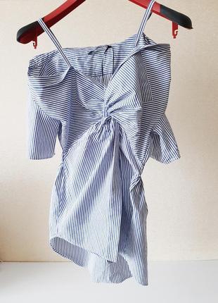 Шикарная ассиметричная  рубашка трансформер бренд zara woman premium denim collection