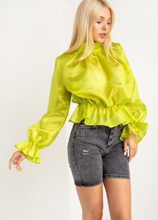 Салатовая блуза из органзы
