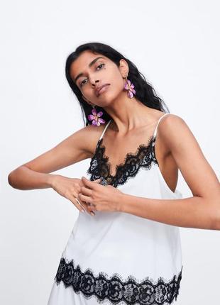 Блузка з гіпюром zara майка с кружевом топ