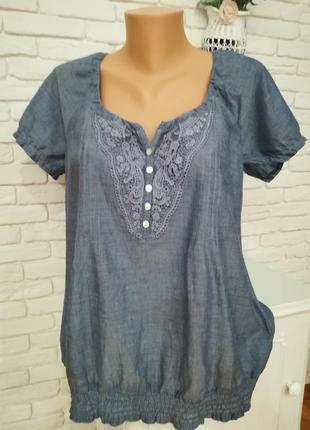 Тонкая котоновая блуза с котоновым кружевом,yessica,р.м