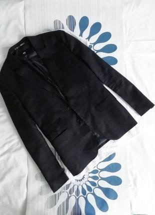 Черный льняной пиджак жакет блейзер из льна чорний лляний піджак з льону прямой