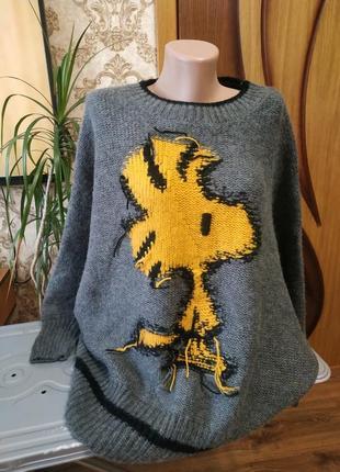 Шикарный тёплый шерстяный свитер овер сайз