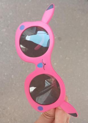Стильные качественные актуальные яркие необычные очки для девочки polarized зайка покемон