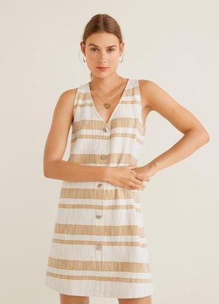 Mango новое из сайта стильное прямое платье сарафан на пуговицах в полоску 😍