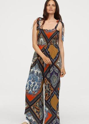 Комбинезон с широкими брюками h&m 🧡 брючный комбез с разноцветным платочным принтом
