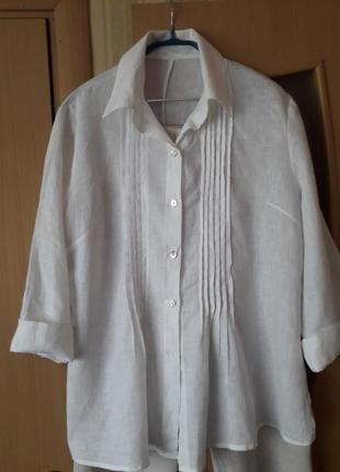 Белоснежная льняная рубашка