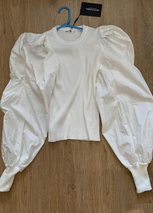 Блуза  рубашка plt белая с объемными рукавами воланами