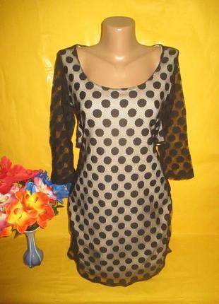 Ажурное женское платье в горох с красивой спиной рр 12 грудь 37-43 см !!!!!!!!!