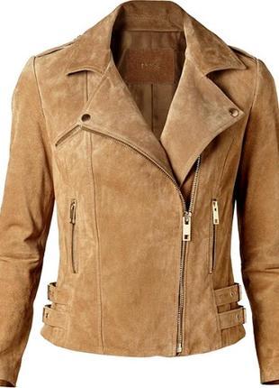Mango. кожаная куртка косуха. натуральная замша