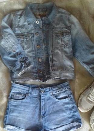 Джинсовая куртка джинсовка топ с коротким рукавом