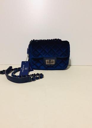 Красивая сумка сапфирового цвета antonio basile италия оригинал
