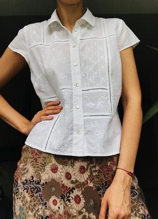 Легкая хлопковая блуза с вышивкой 100% хлопок бохо marks&spencer uk14 zimmerman