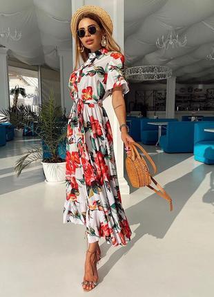 Платье рубашка в цвети миди