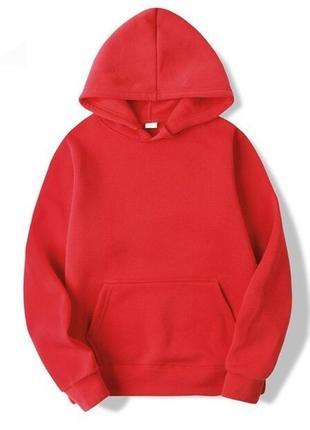Худи-oversize базовый красный, без начеса, унисекс