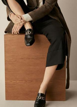 🌹100% кожа🌹massimo dutti, италия , люкс, мягкие лоферы с цепью, , туфли ,размер 37