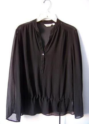 Шифоновая блуза рубашка черная
