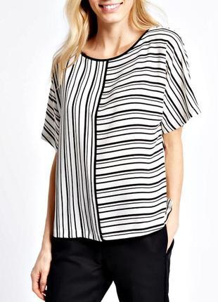 Стильная блуза-кимоно в черно-белую полоску р.18