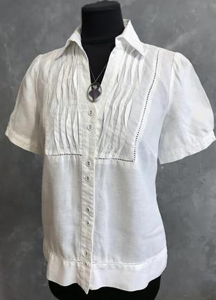 Шикарная льняная белая блуза рубашка италия 🇮🇹  лён