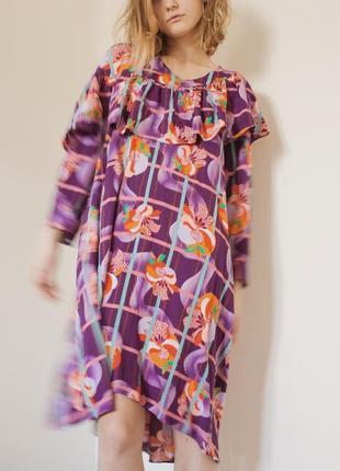"""Принтованное фиолетовое платье-миди в винтажном стиле """"&other stories"""", размер s"""