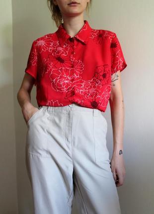 """Винтажная красная укороченная рубашка в цветочный принт """"essentials"""", размер s-l"""