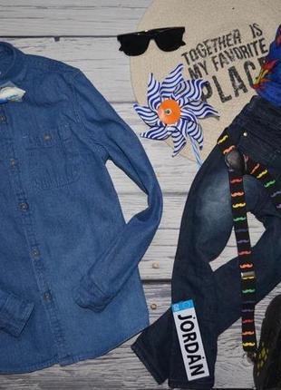 11 - 12 лет 152 см фирменная обалденная джинсовая рубашка моднику rebel рейбел