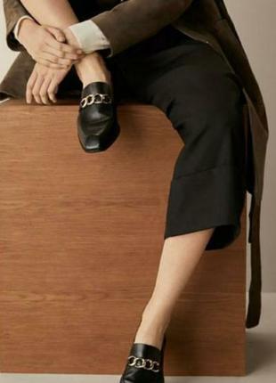 ☘️100& кожа☘️massimo dutti, италия , люкс,, туфли, лоферы с  золотой цепью,, разм 37