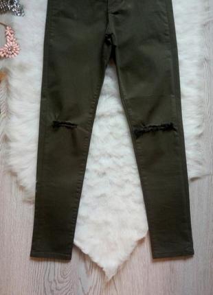 Джинсы скинни американки цвета хаки с очень высокой талией и дырками на коленях