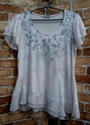 Тонкая трикотажная блуза футболка с кружевом в стиле бохо
