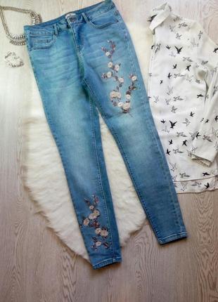 Синие голубые джинсы скинни с вышивкой цветочным принтом стрейч батал большой размер