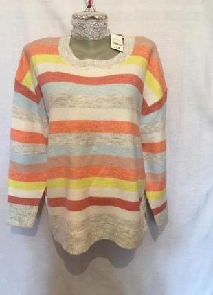💝💝💝 george яркий свитер в полоску джемпер пуловер / l