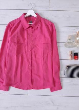 Стильная блуза  в красивом розовом с карманчиками