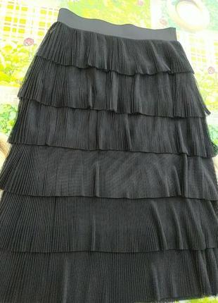 Черная юбка с оборками сеточка