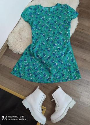 Платье h&m 100% вискоза цветочний принт волошки размер м индия oversize