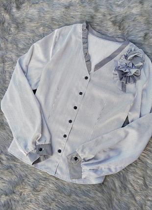Атласная блузка кофточка в трендовую полоску