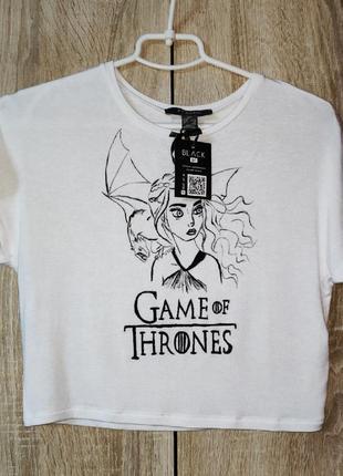 Короткая футболка с росписью акрилом дейенерис. игра престолов
