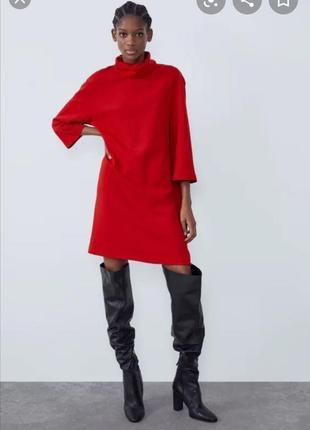 Красное платье гольф zara