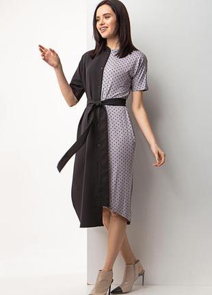Асимметричное платье-рубашка серый горох