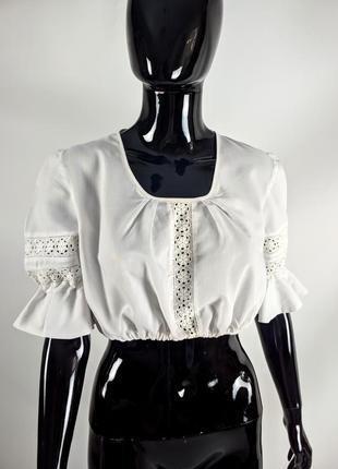 Винтажная блуза топ с прошвой и рукавами буфами