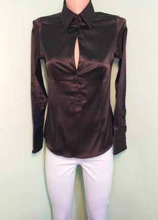 Коричнева атласна блуза