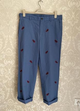Brooks brothers синие мужские брюки чиносы с вышивкой лобстер ralph lauren