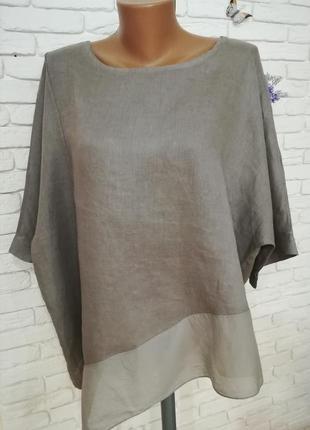 Стильная блуза-туника оверсайз,тонкий лен и шёлк,большой размер, пог 70