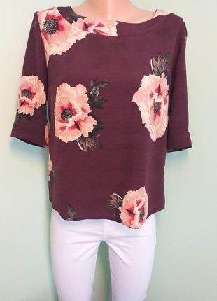 Вишнева блуза в рожеві квіти