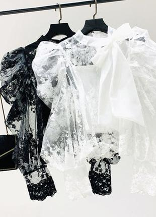 Блуза кружевная с рукавами фонариками с топом в комплекте
