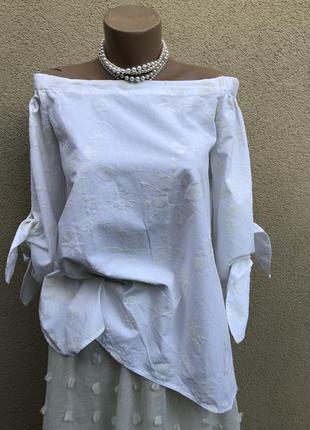 Белая блуза,рубаха,хлопок,открытые плечи,этно бохо стиль,
