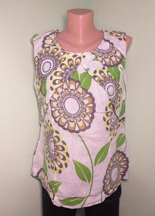 Лляна блуза в квіти