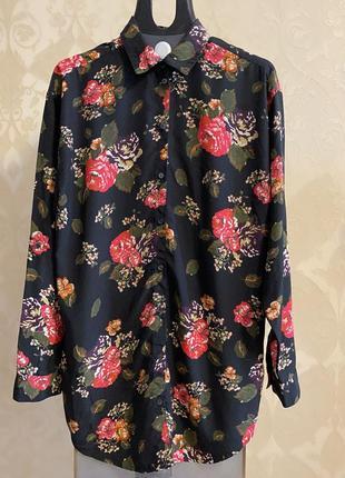 Удлиненная рубашка блузка в цветочный принт divided / h&m