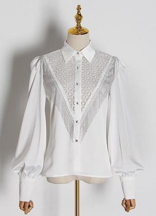 Блуза с бахромой и рукавами фонариками белая чёрная