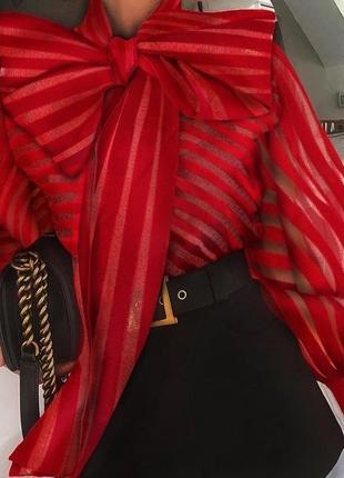 Блуза в полоску с бантом красная черная