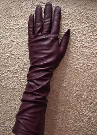Длинные перчатки, рукавиці с мягчайшей кожы италия